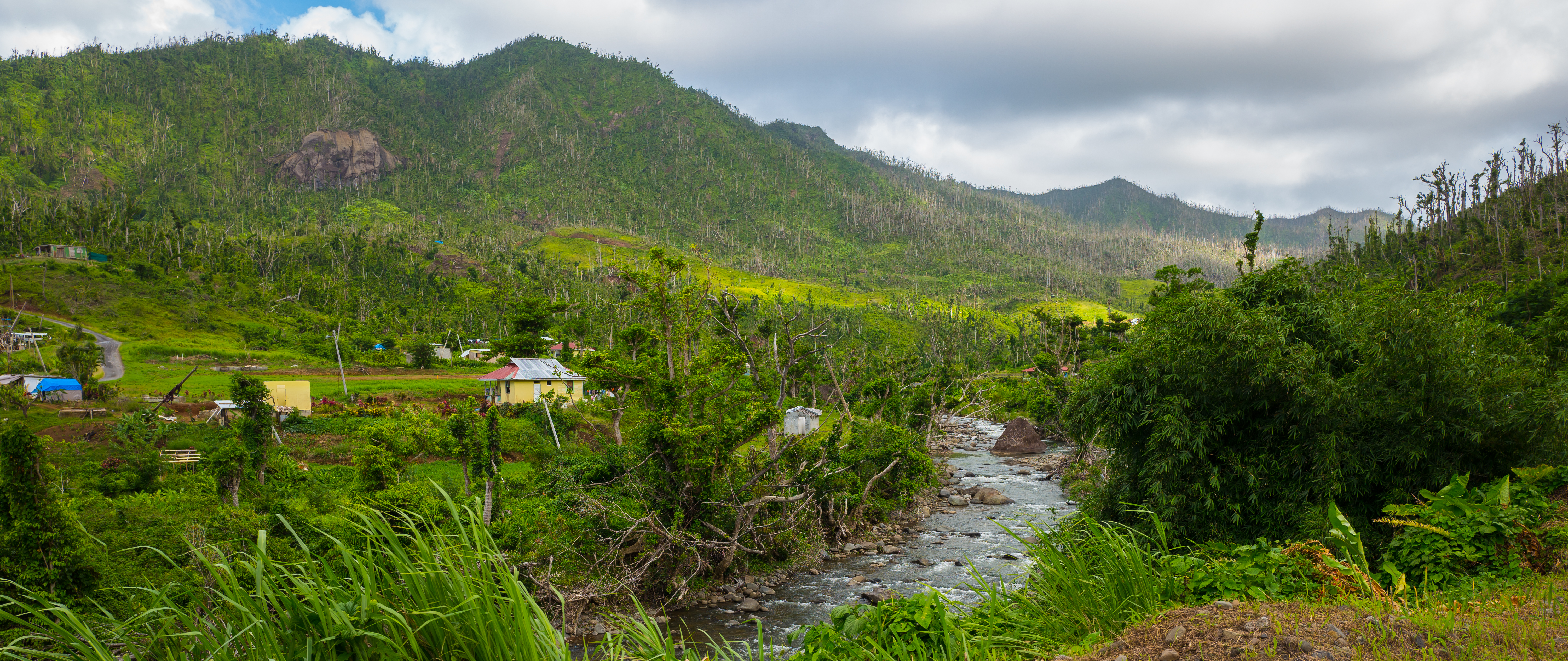 The Imperial Road climbs past lowland farming communities along the Pagua River.