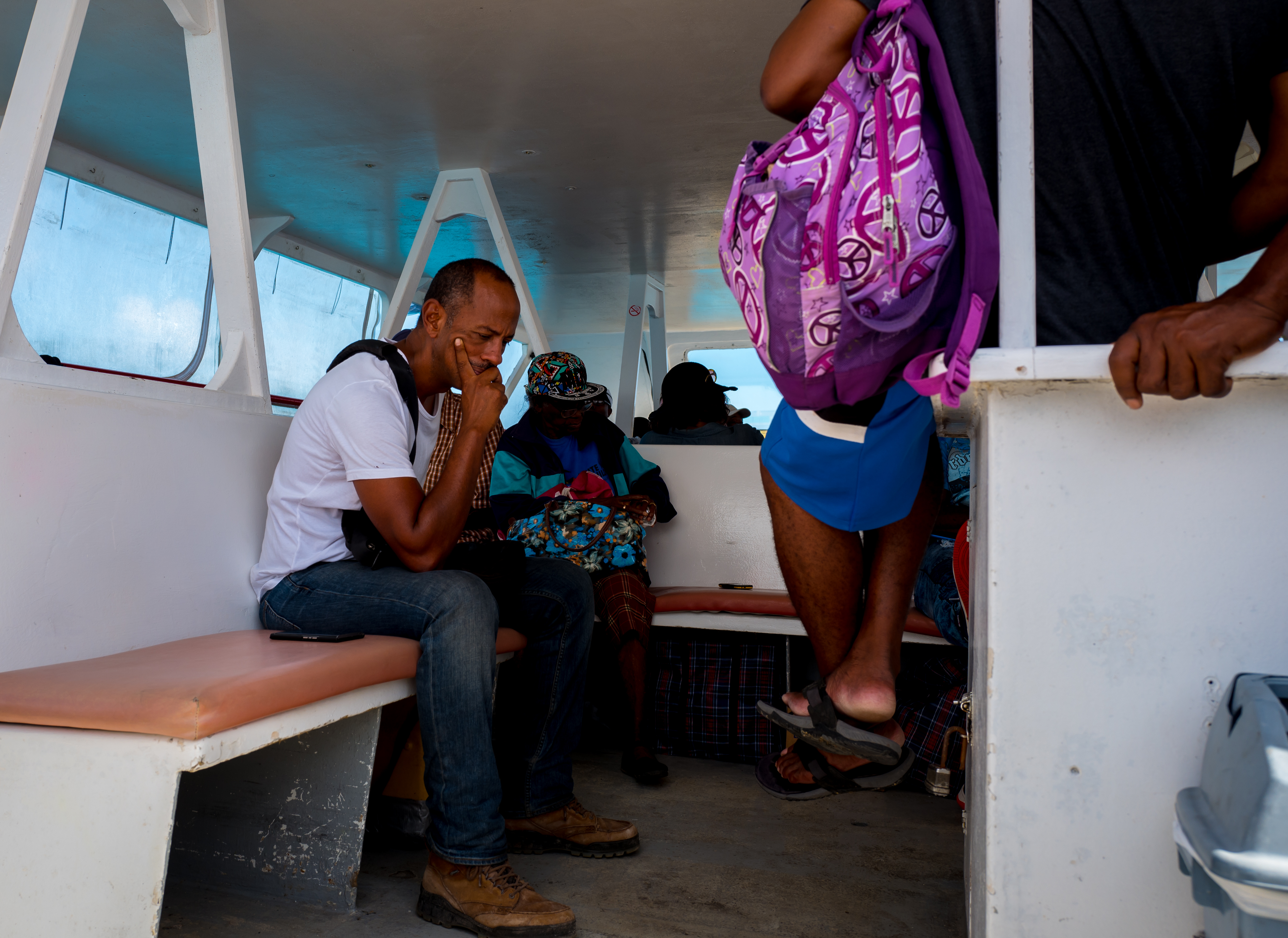 Heading to Barbuda on the Barbuda Express, a high-speed ferry, that makes the 32-mile crossing in almost any weather in about 90 minutes. Some 500 Barbudans have returned to the island since the government in Antigua lifted the mandatory evacuation order in late September 2017.
